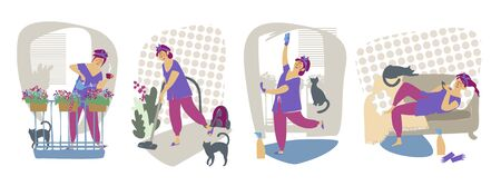 House cleaning. Housewife. Cleaning lady. Flat style. Vector isolated illustration cartoon character.