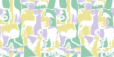 Seamless pattern African animals and birds. Colorful illustration in flat style. Vivid contrast of yellow, black and white. Ideal for fabric design, poster printing, wrapping paper. modern design. Фото со стока