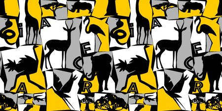 Seamless pattern African animals and birds. Colorful illustration in flat style. Vivid contrast of yellow, black and white. Ideal for fabric design, poster printing, wrapping paper. Фото со стока