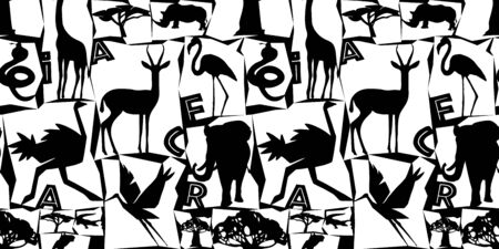 African animals and birds seamless pattern. Black and white illustration in a flat style. Vivid contrast. Ideal for fabric design, poster printing, wrapping paper.