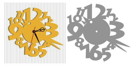 Vector template of children's watches. The basis of the clock for the children's room. Illustration of a cute bird and big numbers.