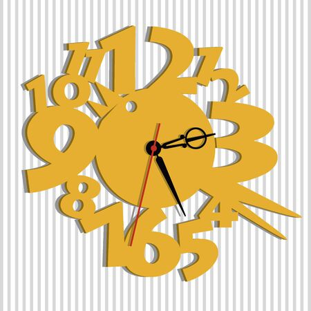 Wall clock. Vector template of children's watches. The basis of the clock for the children's room. Illustration of a cute bird and big numbers.