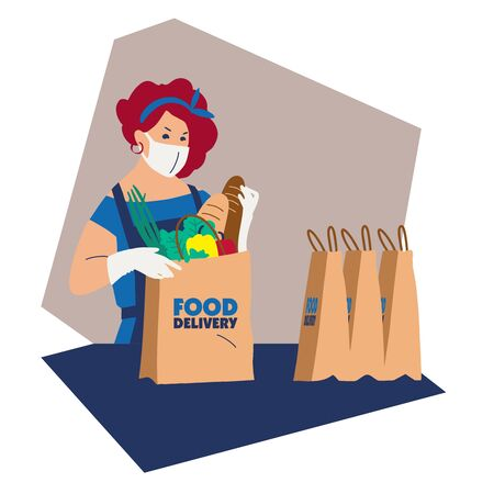 Food delivery. Delivery of goods for the prevention of coronovirus Covid-19. The girl is preparing food for shipment. Protective mask food packer. Flat illustration. Copy space