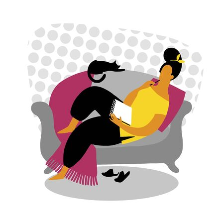 a woman works while lying on the sofa. Vector illustration of freelance work. The girl works at the computer and lies on the sofa at home.