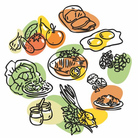 Health food. What to eat during quarantine. A set of vector illustrations. Isolated creative design of healthy lifestyle objects. Outline style
