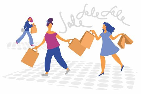Discounts and sales. Shopaholics. Illustration of two girls with shopping. Vector. Flat illustration in cartoon style. White background. Ilustração