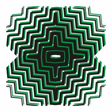 Fashion zigzag pattern, seamless vector background. Futuristic vibrant design. Geometric tile in op art. technologic design. Memphis style.Vector Vektorgrafik