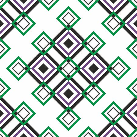 Seamless geometric pattern. Vector abstract classical background . Modern stylish texture. Repeating geometric tiles with square elements. Diagonal pattern. black, green and pink