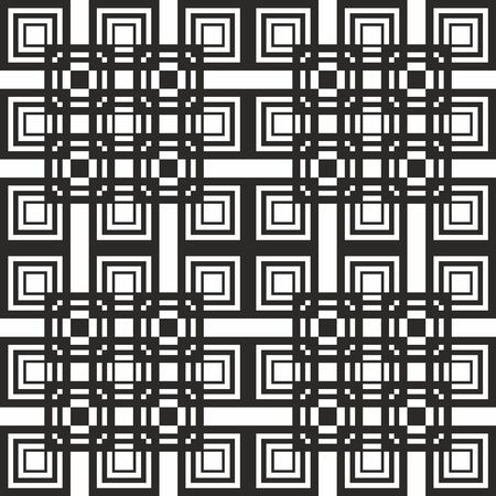 Seamless geometric pattern. Vector abstract classical background in black and white color . Modern stylish texture. Repeating geometric tiles with square elements Illustration