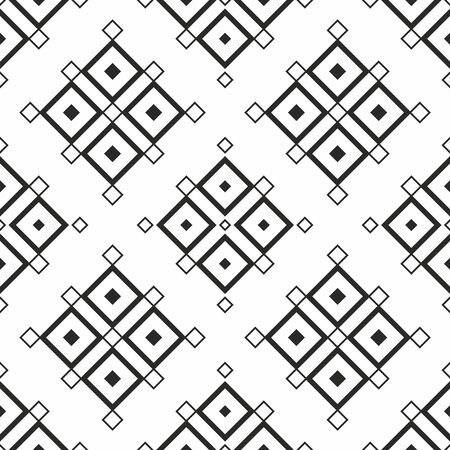 Seamless geometric pattern. Vector abstract classical background in black and white color . Modern stylish texture. Repeating geometric tiles with square elements. Diagonal Illustration