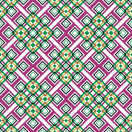 Seamless geometric pattern. Vector abstract classical background . Modern stylish texture. Repeating geometric tiles with square elements. Diagonal pattern. black, green, yellow and pink