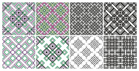 Set of Geometric seamless patterns. Seamless geometric pattern. Vector abstract classical background . Modern stylish texture. Repeating geometric tiles with square elements. Diagonal pattern