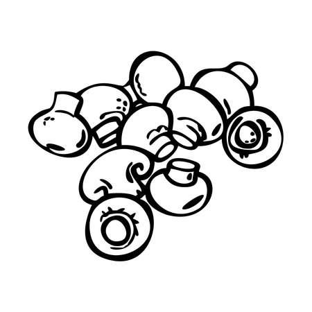 Champignon icons set. Champignon outline. Great for menu, poster or label. Isolated champignon on white background. Line art.