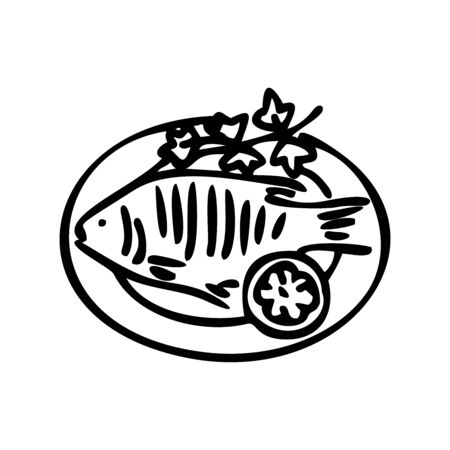Fried fish and lemon on a plate. Great for menu, poster or label. Outline style. Line art. Vector illustration.