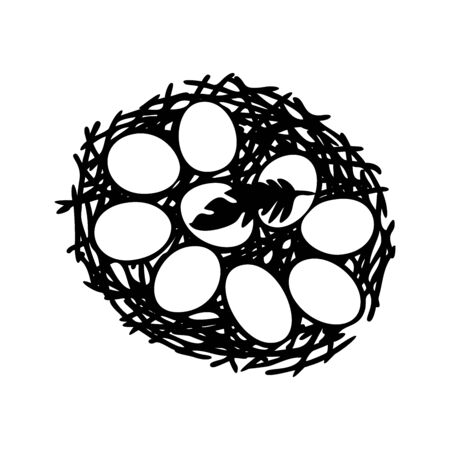 Vector illustration of hand drawn nest with spotted eggs. Graphic style, beautiful illustration. Bird feather. Line art. Outline style.
