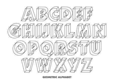 Vector of Geometric Alphabet Letters. 3d isometric alphabet font .