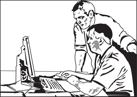 two man in office, trying to solve business problem Illustration