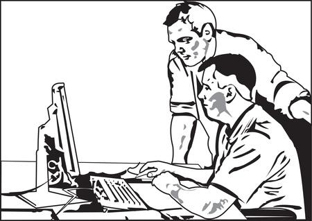 resoudre probleme: deux hommes dans les bureaux, en essayant de r�soudre probl�me Illustration