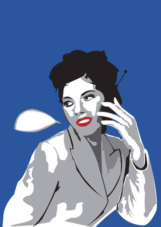 Young lady talking on mobile phone Vector