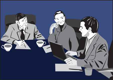 Young man introducing his new ideas to his boss on business meeting Stock Vector - 2868723