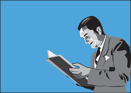 sales executive: Man reading book Illustration