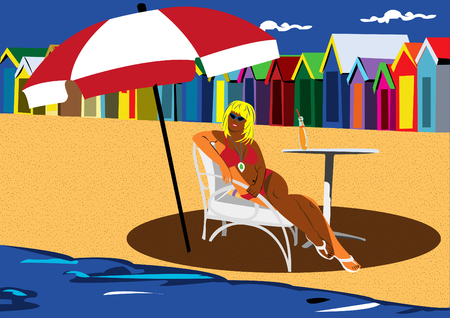 Girl in front of Beach Huts Vector