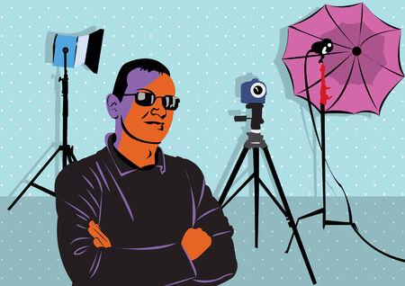 Illustration d'un jeune homme qui pose en studio photo