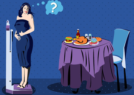beefy: Illustration of a women on scale looking back a table full of food Illustration