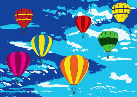Illustration of hot air balloons on the air.  Vector