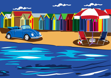 waterside: Illustration of an old car chairs and sunshade on the beach