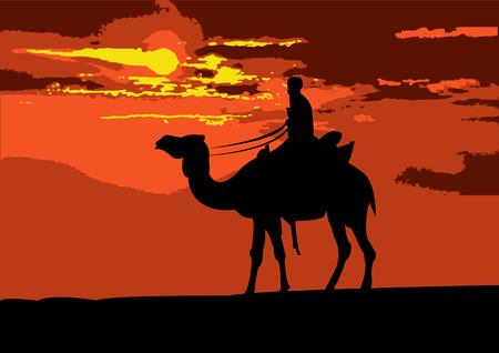 Illustration d'un coureur de chameaux voyageant à travers le désert, sur le coucher de soleil Banque d'images - 5197373