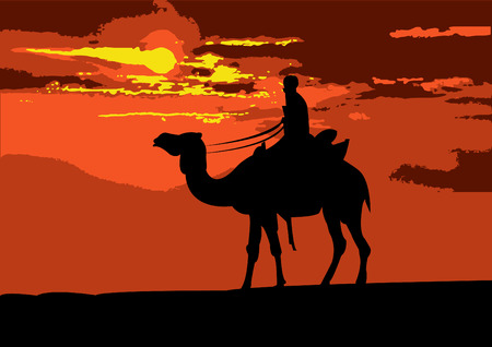 Illustration of a camel rider traveling through the desert, on the sunset Illustration