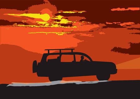 Vector illustration of a car traveling through the desert Vector