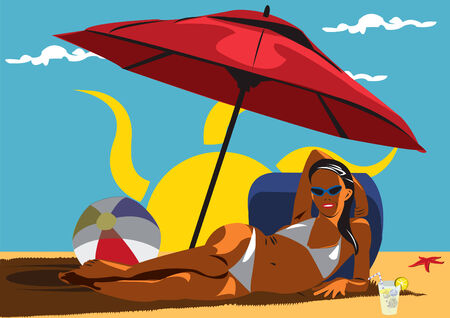 Illustration of young girl at the beach under sunshade Vector