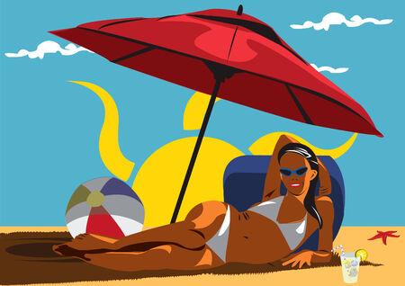 sunshade: Illustration of young girl at the beach under sunshade
