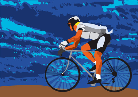 Vector illustration of a sportsman on a bike Vector