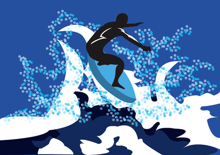 Illustration of a surfer on the blue water background Vector