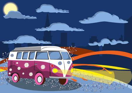 hippy: Illustration of old mini wan on the road Illustration