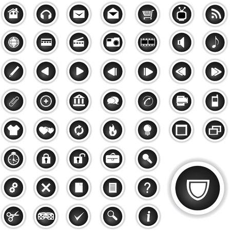 siti web: Illustrazione di 50 tasti in bianco e nero ad alta risoluzione per il portafoglio di siti web, ecc