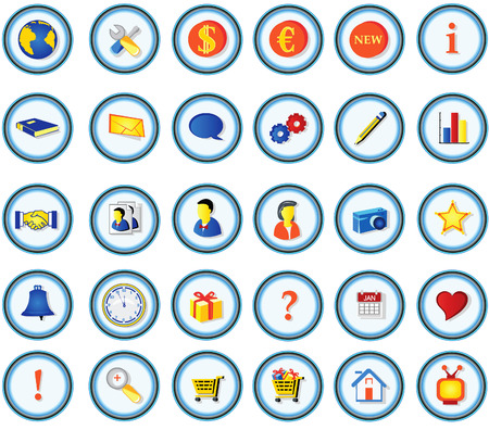 Vector illustration of colored buttons for portfolio websites presentations etc. Vector