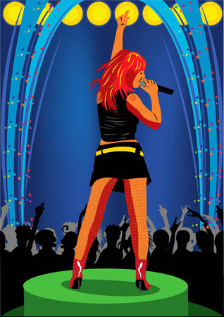 stage performer: Vector illustration of a young girl singing on the stage