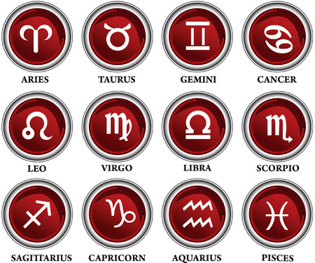 Vector illustration of horoscope red button set easy scalable and fully editable Vector