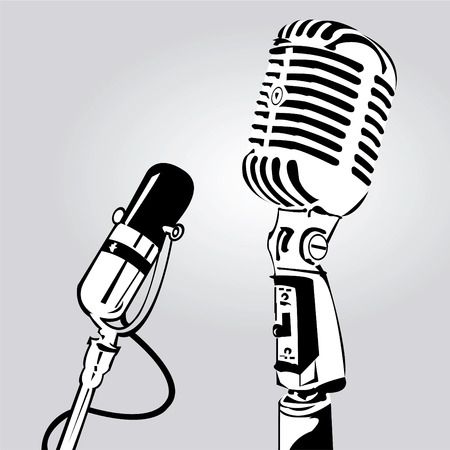Vector illustration of two microphone isolated on Grey background
