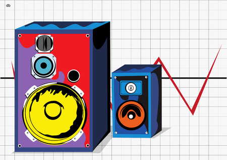 vibrations: Vector illustration of two loudspeakers