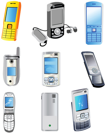 Collection of 9 different colored mobile phones vector illustrations Vector