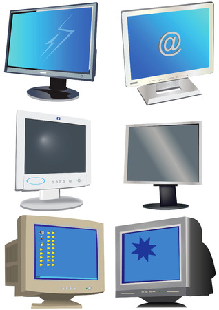 lan: A collection of 6 different colored monitors vector illustration