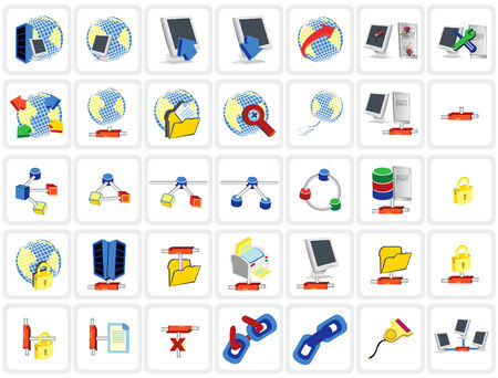 Vector illustration of colored network icons set Vector