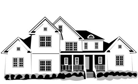 luxury home exterior: Vector illustration of a big house isolated on white background