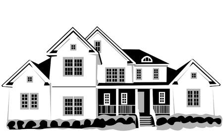 detached: Vector ilustraci�n de una gran casa aislada en el fondo blanco