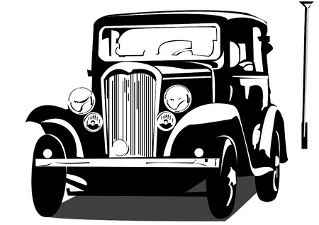 Vector black and white illustration of an old car